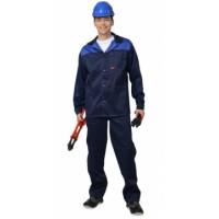 "Костюм ""АСПЕКТ"" : куртка длин., брюки темно-синий с васильковым"