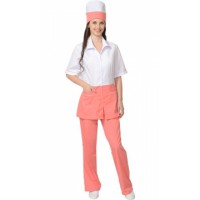 """Костюм """"СТЕФАНИ"""" женский: куртка, брюки, колпак белый с тёпло-розовым"""