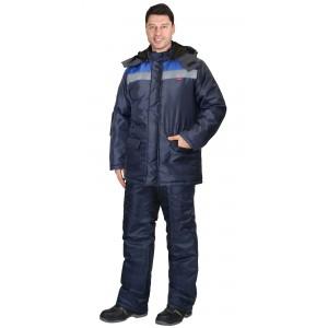 """Куртка """"Бригадир"""" зим. муж. с капюшоном т-синяя с васильковым"""