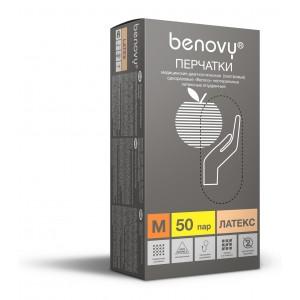 Перчатки BENOVY™ латексные опудренные 4,9гр. (50 пар)