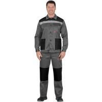 """Костюм """"СТАНДАРТ"""": куртка, брюки средне-серый с черным и СОП"""