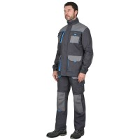 """Куртка """"Двин"""" цв. т.серый со средне серым и голубой отделкой (ЧЗ)"""