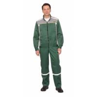 """Костюм """"ПРАКТИК-1""""летн.: куртка, п/к. зеленый с серым тк.CROWN-230"""