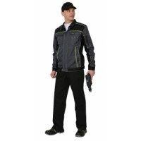 """Костюм """"Престиж"""" : куртка,брюки, цв. темно-серый с лимонным кантом"""