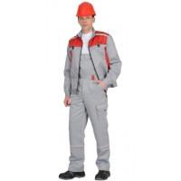 """Костюм """"ПРАКТИК-1""""летн.: куртка кор., п/к. св/серый с красным тк.CROWN-230"""