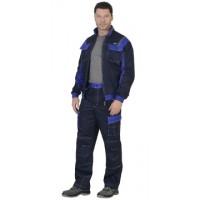 """Костюм """"КАРАТ"""": куртка, брюки т.-синий с васильковым (тк. 80% х/б, пл. 250 г/кв.м)"""