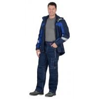 """Костюм """"Сидней"""" летний: куртка, брюки синий с ваильковым тк.Rodos (245 гр/кв.м)"""