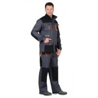 """Костюм """"МАНХЕТТЕН"""":длин. куртка, п/к, т.серый с оранжевым и черным (тк. 98% х/б, пл. 250 г/кв.м)"""