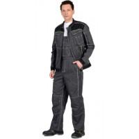"""Костюм """"Престиж"""" : куртка, п/к """"Престиж"""" серый, цв. темно-серый с лимонным кантом"""
