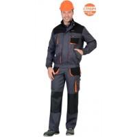 """Костюм """"МАНХЕТТЕН"""" короткая куртка, брюки, т.серый с оранжевым и черным"""