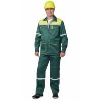 """Костюм """"МЕХАНИК"""": куртка, брюки зелёный с жёлтым и СОП 25 мм. тк.CROWN-230"""