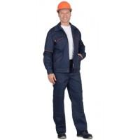 """Костюм """"ПРОФИ-2"""": куртка, брюки (100% узбекская саржа) синий с оранжевым кантом"""