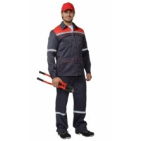 """Костюм """"МЕХАНИК"""": куртка, брюки серый с красным и СОП 25 мм. (тк.CROWN-230)"""