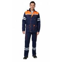 """Костюм """"ЛИДЕР"""" летний: куртка, полукомбинезон синий с оранжевым и СОП 25 мм."""