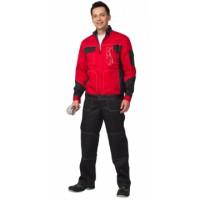 """Костюм """"ГРАНД"""" летний: куртка, полукомбинезон чёрный с красным тк. CROWN-230"""