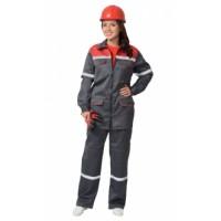 """Костюм """"МЕХАНИК"""" женский: куртка, брюки серый с красным и СОП 25 мм. тк.CROWN-230"""