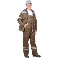 """Костюм """"ЛИДЕР"""" лет.:куртка, п/к., хаки со св.серым тк.Crown 270 и СОП 25мм"""
