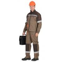 """Костюм """"РОДОС"""" мужской: куртка, п/к. св.-коричневый с т.-коричневым с оранж. кантом"""