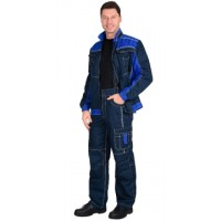 "Костюм ""Престиж-Люкс"" (тк. Панакота) Куртка, брюки, синий с васильковым"