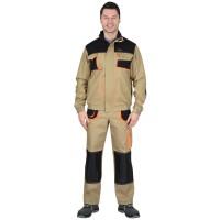 """Костюм """"МАНХЕТТЕН"""" короткая куртка, брюки, песочный с оранжевым и черным"""