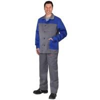 """Костюм """"Аспект"""": куртка, брюки средне-серый с васильковым"""