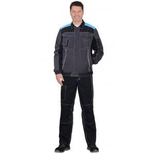 """Куртка """"Престиж"""" кор.,летняя т.серая с черным и с голубой отделкой"""