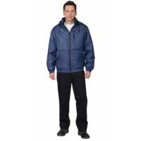 """Куртка """"ПРАГА-Люкс"""" мужская, с капюшоном, темно-синяя"""