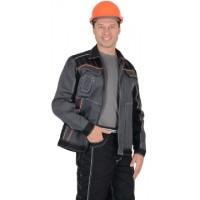 """Куртка """"Престиж"""" кор.,летняя темно-серая с оранжевым кантом тк.Rodos (245 гр/кв.м)"""