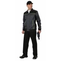 """Куртка """"Престиж"""" кор.,летняя темно-серая с лимонным кантом тк.Rodos (245 гр/кв.м)"""