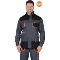 """Куртка """"МАНХЕТТЕН"""" длинная темно-серая с оранжевым и черным (тк. 98% х/б, пл. 250 г/кв.м)"""
