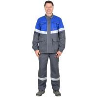 """Куртка """"Самотлор"""" длинная, серая с васильковым, 80% х/б, 20% п/э, антистатическая нить"""