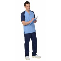 "Костюм ""ИНТЕРН"" мужской: куртка, брюки, тёмно-синий с голубым"