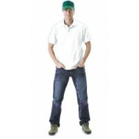 Рубашка-поло короткие рукава белая, пл. 205 г/кв.м.