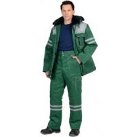 """Костюм """"ЛИДЕР"""" зимний: куртка дл., брюки, зеленый с серым и СОП"""