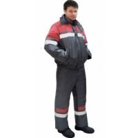 "Костюм ""ОРБИТА"" зимний: куртка кор.,п/комб. серый с красным и СОП"