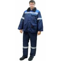 """Костюм """"СЕВЕР-2""""зимний: куртка дл.,брюки синий с васильком и СОП (съемный утеплитель)"""