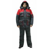 """Костюм """"Спутник"""" зимний: куртка длинная, брюки, цвет: темно-серый с красным"""