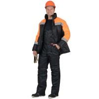 """Костюм """"Спецмонтаж"""" куртка, п/к черный с оранжевым"""