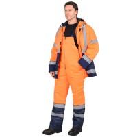 """Костюм """"МАГИСТРАЛЬ-3"""" куртка, п/к, синий с оранж. и СОП 50мм тк.Гретта"""