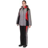 """Костюм """"Сибирячка"""" женский зим: куртка, п/к серый с черн и красным"""