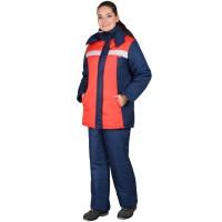 """Куртка """"ФРИСТАЙЛ"""" женская, синий с красным с жемчужной отд."""