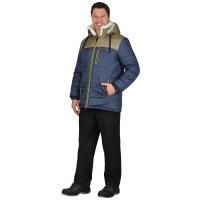 """Куртка """"ДРАЙВ"""" зимняя мужская, синяя с оливковым, подкладка  искусственный мех"""
