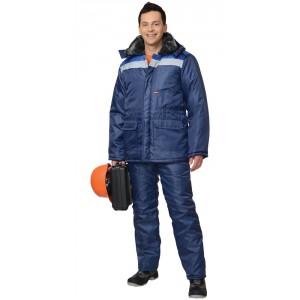 """Костюм """"СТРОИТЕЛЬ"""" зимний: куртка дл., брюки синий с васильковым и СОП"""
