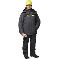 """Костюм """"ХОВАРД"""": зим. куртка дл.,брюки т.-серый с черным и лимон. отд."""
