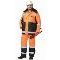 """Костюм """"МЕТЕОР"""" зимний: куртка дл., полукомбинезон оранжевый с чёрным и СОП"""