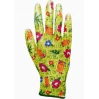 """Перчатки """"САДОВЫЕ"""" зеленые (100%нейлон 13-го класса вязки,с принтом,покрытие-прозрачный нитрил)"""