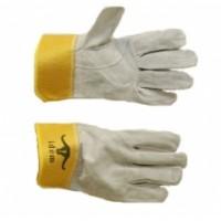 Перчатки спилковые (цельнокроенные, манжет-крага 7см, говяжий спилок 0,9-1,1мм, цвет серый)